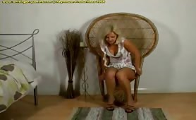 sexy blonde teen pisses in her white cotton panties
