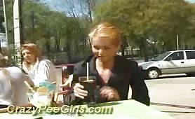 Cute beautie teen girl outdoor pissing