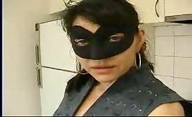 Hardcore masked wife Aanisha drinking her hubbys pee