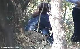 An outdoor voyeur pissing scene on video