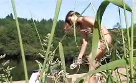Spying on beautiful teen peeing naked outdoor