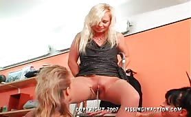 Lesbian Biker Chick Piss-Covered Threeway