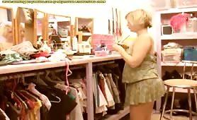 Sexy blonde pees in her panties