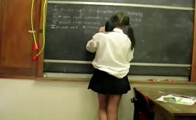 Naughty schoolgirl peeing in her white cotton panties