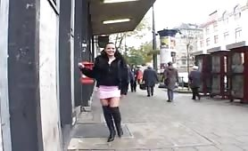 crazy babe peeing in public