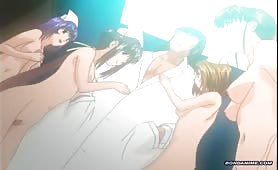 Tied up hentai nurses pee in a orgy of pervertism and shit