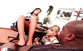 Fully-Clothed Babes in Satin Get Fucked and Pissed on by Big Black Cock