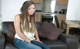 Young sexy girl wetting her tight jeans and them masturbates her soaked pussy while wearing her wet cotton panties