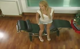 Blonde with petite tits wetting her cotton panties after peeing desperation