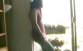 Exhibitionist Asian girlfriend wetting her cotton panties on balkony