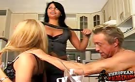 Group femdom perversions in the kitchen