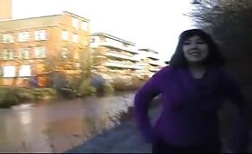 Nimue peeing alongside the road