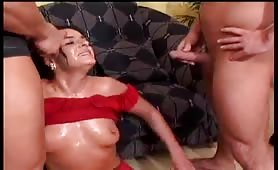 Piss craving girl fucks cocks in mouth and pussy