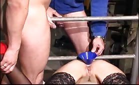 Wilde blondie gets piss poured into her butt hole